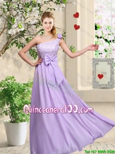 Pretty Fashionable One Shoulder Dama Dresses with Hand Made Flowers