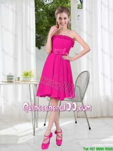 Pretty Summer A Line Strapless Short Dama Dresses with Bowknot