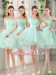 Pretty 2016 Spring A Line Ruching Dama Dresses with Belt in Apple Green