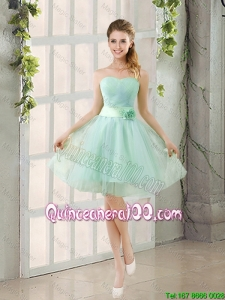 Pretty 2016 Summer A Line Strapless Ruching Dama Dresses in Tulle