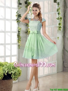 Pretty Affordable Square Lace Dama Dresses with Bowknot