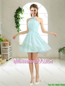 Pretty Cheap Halter Top Belt Light Blue Dama Dresses for 2016