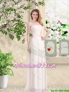 Pretty Cheap One Shoulder Hand Made Flowers Dama Dresses in Champagne