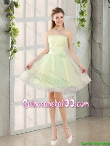 Pretty Custom Made A Line Strapless Tulle Dama Dresses with Belt