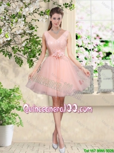 Pretty Decent V Neck Baby Pink Dama Dresses with Hand Made Flowers