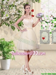 Pretty Popular A Line Champagne Dama Dresses with Appliques and Belt