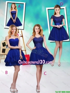 Pretty Wonderful Mini Length Royal Blue Dama Dresses with Appliques