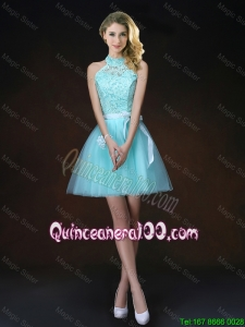 Pretty Elegant Halter Top Laced Dama Dresses with Appliques