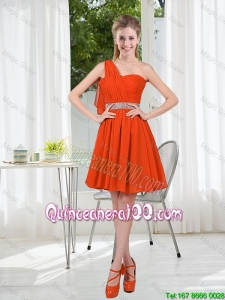 Perfect Rust Red One Shoulder Dama Dresses with Beading and Belt
