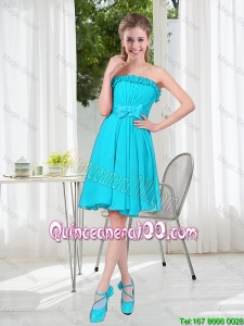Cheap Custom Made A Line Strapless Dama Dresses with Bowknot