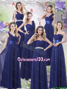 Great New Style Empire Floor Length Dama Dresses in Navy Blue