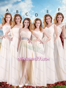 Pretty Elegant Empire Champagne Dama Dresses with Hand Made Flowers