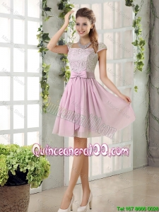 Pretty Popular A Line Square Lace Dama Dresses with Bowknot