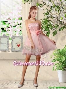 Cheap Beautiful Strapless Laced Dama Dresses with Hand Made Flowers