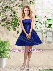 Perfect Popular Hand Made Flowers Royal Blue Dama Dresses with Appliques