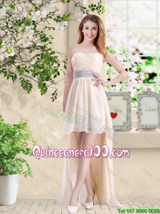 Pretty Affordable High Low Sweetheart Dama Dresses in Champagne