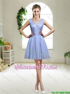 Pretty Discount V Neck Dama Dresses with Appliques and Sequins