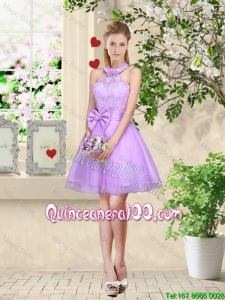 Pretty Feminine Halter Top Laced and Bowknot Dama Dresses in Lavender