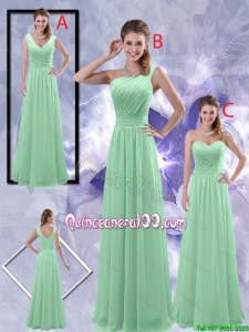 Pretty Perfect Zipper up Ruched Dama Dresses in Apple Green