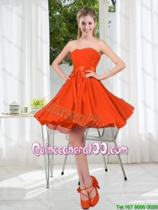 Pretty Custom Made Sweetheart Short Dama Dress with Belt