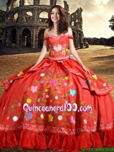 Western Style Fashionable Off The Shoulder Taffeta Quinceanera Dress with Embroidery and Bowknot