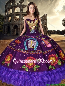 Best Embroideried and Ruffled Layers Purple Quinceanera Dress in Organza and Taffeta