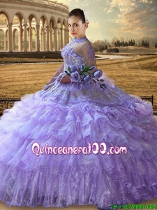 Western Theme Gorgeous See Through High Neck Lavender Quinceanera Dress with 3/4-length Sleeves
