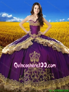 Beautiful Sweetheart Eggplant Purple Quinceanera Dress with Embroidery and Beading