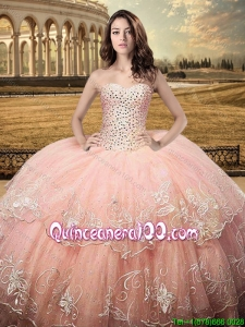 Classical Puffy Skirt Sweetheart Quinceanera Dress with Embroidery and Beaded Bodice