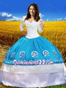 Cowgirl Three Fourth Length Sleeves Blue and White Quinceanera Dress with Embroidery and Lace