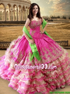Discount Ruffled Layers Organza and Taffeta Quinceanera Dress in Hot Pink and Champagne