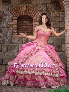Exclusive Beaded and Ruffled Layers Off The Shoulder Taffeta Rose Pink Quinceanera Dress