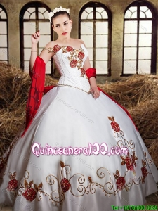 Perfect One Shoulder Embroideried and Beaded White Quinceanera Dress in Taffeta