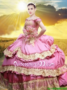 Pretty Applique and Laced Bubble Taffeta Quinceanera Dress in Rose Pink