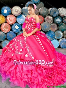 Western Style New Style Brush Train Hot Pink Quinceanera Dress with Beading and Ruffles