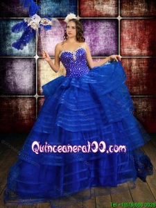 Western Theme Beautiful Beaded Bodice and Ruffled Layers Organza Quinceanera Dress in Royal Blue