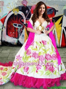 Western Theme New Arrivals Deep V Neckline Brush Train Taffeta Quinceanera Gown in Hot Pink and White