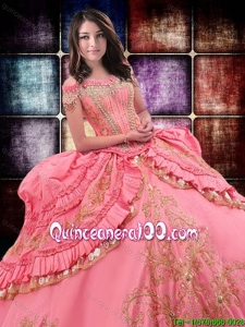 Wild West Luxurious Off The Shoulder Watermelon Red Quinceanera Dress with Beading and Ruffled Layers