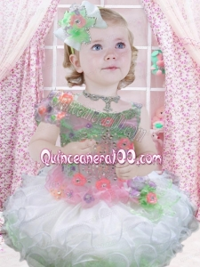 2014 Beautiful Organza Beading Short Little Girl Dress in Multi-color