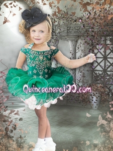 2014 Popular Halter Beading and Ruffles Green Little Girl Dress with Zipper-up