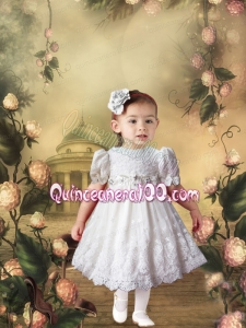 White Short Sleeves Lace and Beading Little Girl Dress with Tea-length