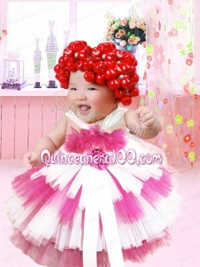 2014 Tulle Ball Gown Little Girl Dress with Hand Made Flowers