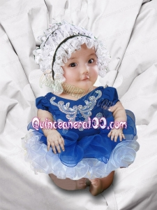 Appliques and Ruffles V-neck Blue and White Cute Little Girl Dresses