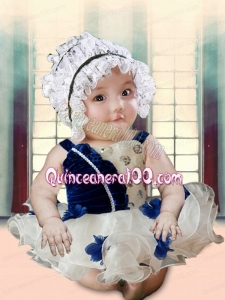 Blue and White Appliques and Ruffles 2014 Cute Little Girl Dress with Straps