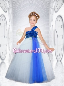One Shoulder Tulle Floor-length Little Girl Dress in Appliques