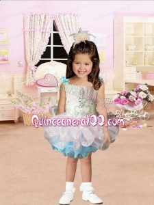 Pink and Blue Square Beading and Ruffles Little Girl Dress for 2014