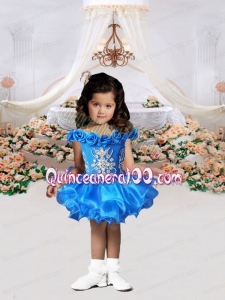 Short Off the Shoulder Backless Royal Blue Little Girl Dress with Beading