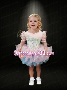 Sweet Ruching and Beading Scoop Pink and Blue Little Girl Dress for 2014