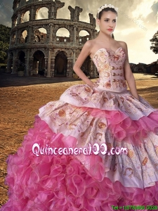 Country LifeStyle Best Selling Brush Train Rose Pink Quinceanera Dress with Embroidery and Ruffles
