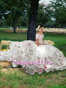 Gorgeous Short Sleeves Embroideried and Beaded Bodice Quinceanera Dress with Brush Train